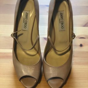 Jimmy Choo Shoes - Auth Jimmy Choo Peep Toe Nude Strap Leather Pump